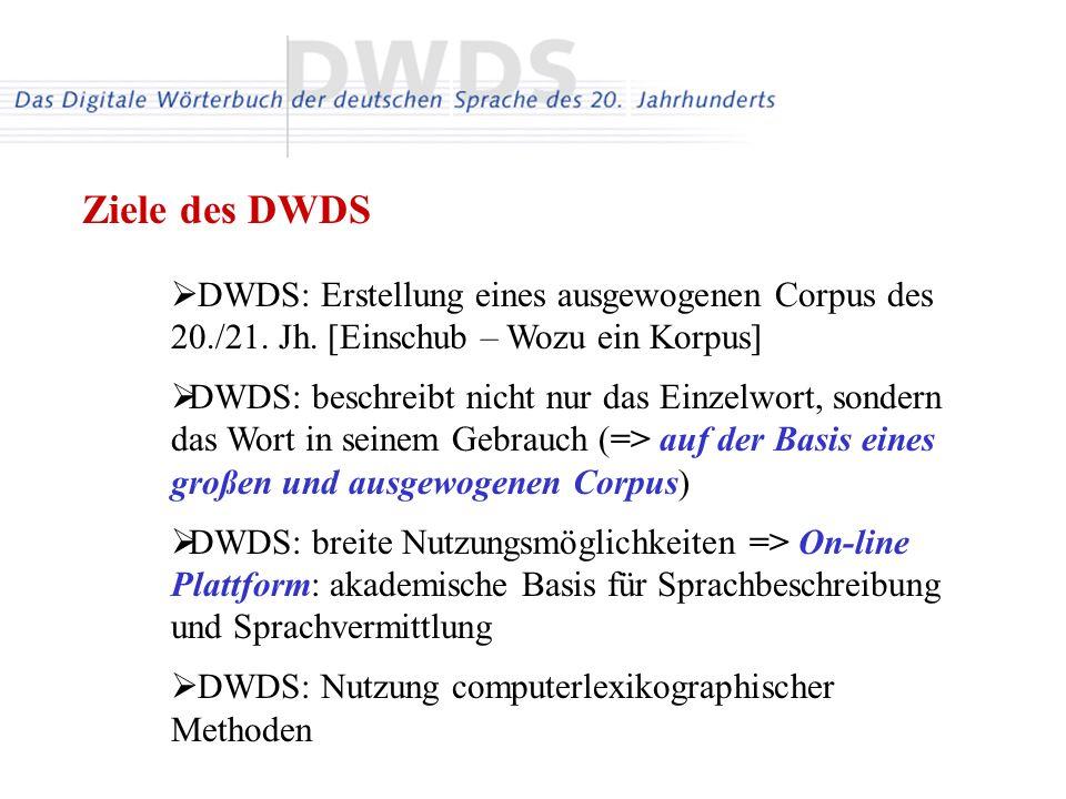 Ziele des DWDS DWDS: Erstellung eines ausgewogenen Corpus des 20./21. Jh. [Einschub – Wozu ein Korpus]